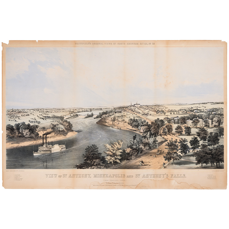 St. Anthony, Minneapolis and St. Anthony's Falls, about 1857.
