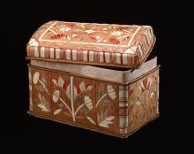 Quilled birch bark box ​made by an Eastern Ojibwe artist about 1890