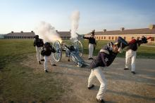 Soldiers executing cannon drill