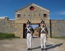 Soldiers at Fort Snelling gate house
