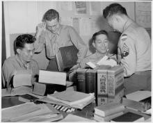 Japanese language translators at the Military Intelligence Service Language School at Fort Snelling, 1944-45.