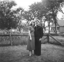 Jerry D'Aloia, brother of Michelina (D'Aloia) Frascone, grew up in 470 Hopkins Street, left to serve in the Korean War, then returned as a newlywed with his wife Barbara. Jerry and Barbara D'Aloia, front yard of 470/472 Hopkins St., early 1950s