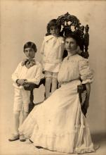 "The Schumachers were the ""founding family"" of 470 Hopkins St. German immigrants Albert and Henriette built the house in 1888 for themselves and their grown children. Martha Schumacher and her nephews Albert and Todd McMmillan, about 1904."