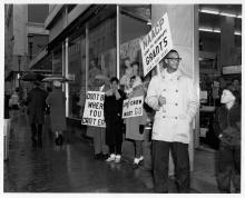 NAACP members picketing for integrated lunch counters outside Woolworth's in St. Paul, Minn., 1960. Look for film  footage of this protest in the exhibit.