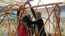 aqal construction at Somali Museum of Minnesota