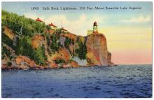 Split Rock Lighthouse, postcard, 1945