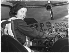 Virginia Mae Hope, from Faribault, Minn., a pilot for the Women's Air Force Service, 1943. Meet a costumed history player portraying Hope in the exhibit.