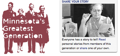 Minnesota's Greatest Generation exhibit logo and Share Your Story image/link