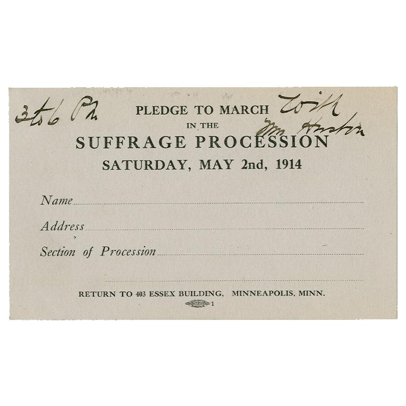 Suffrage March Pledge Card, 1914.