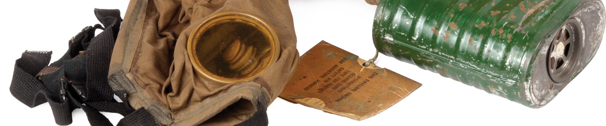 U.S. Army issue gas mask and bag. 1914-1918.