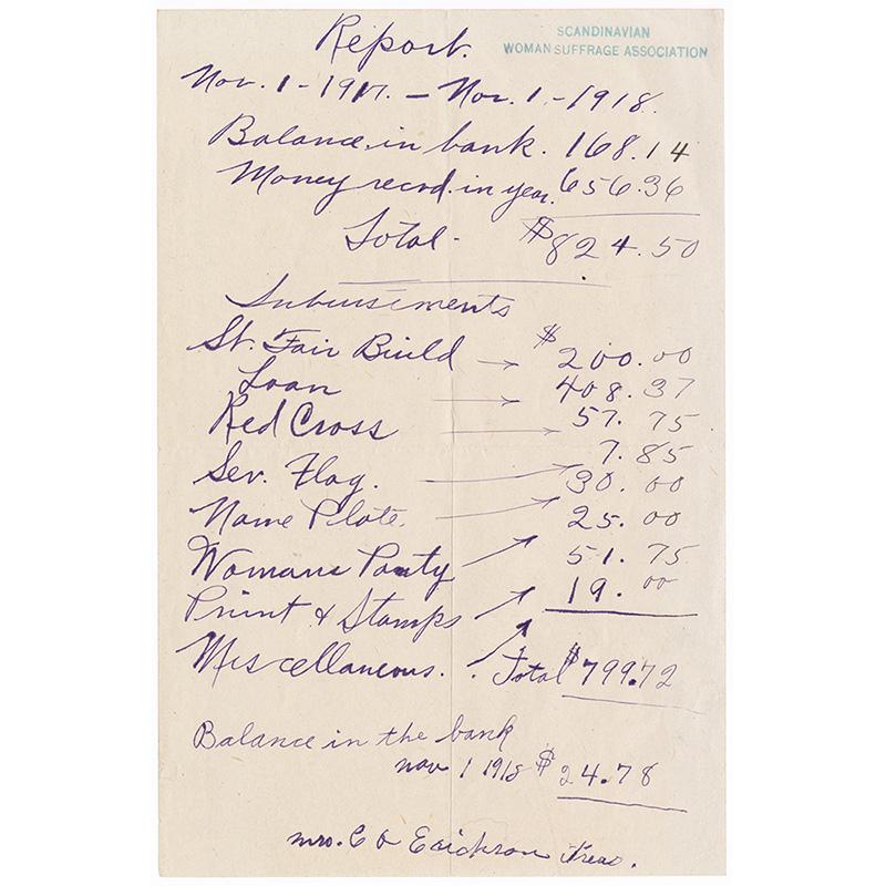 SWSA Trueasurer's Report, 1918.