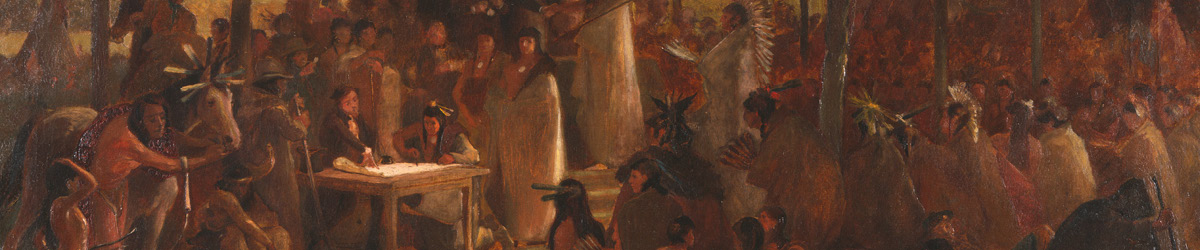 Closeup of a painting by Frank B. Mayer, a witness to the negotiations and signing of the Treaty of Traverse des Sioux.