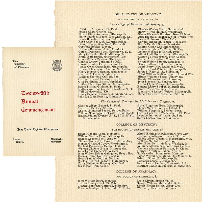 University of Minnesota commencement program, June 3, 1897.