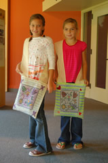 Girls with Ojibwe Shoulder Bags
